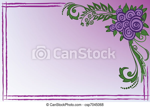 Business card with purple roses - csp7045068
