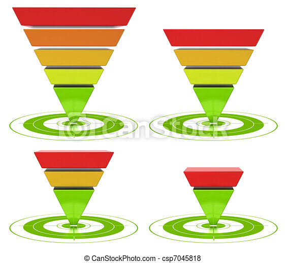 conversion funnel with customizable inversed pyramid over a white background - csp7045818