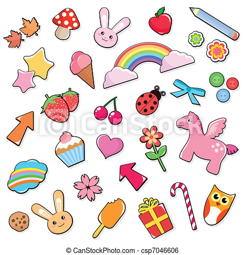 cute icons set - csp7046606