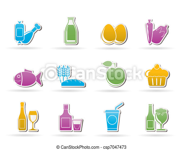 Food, drink and Aliments icons - csp7047473