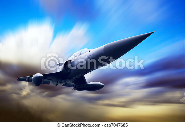 Military airplane on the speed - csp7047685