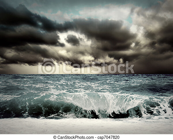 View of storm seascape - csp7047820