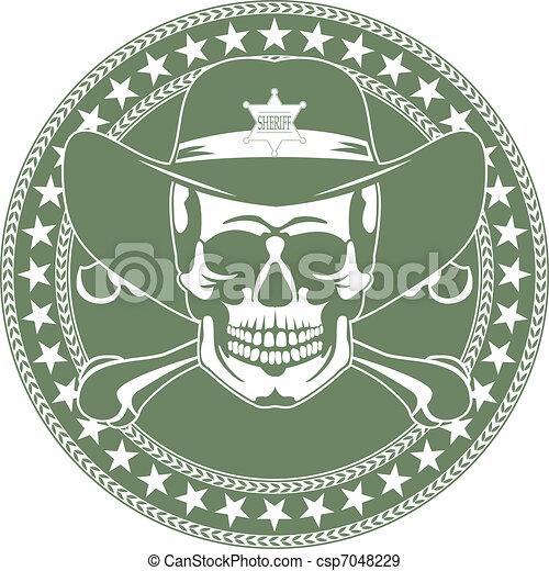 Skull emblem in a cowboy\'s hat - csp7048229