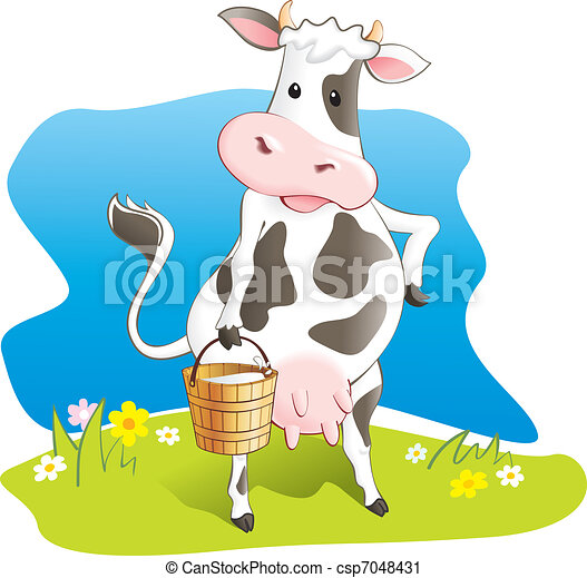 Funny cow carry wooden milk pail  - csp7048431