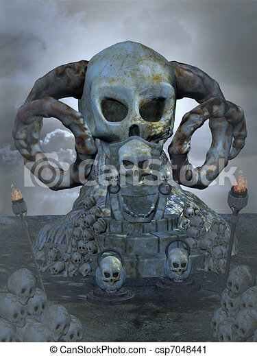 Clipart Of Skull Throne 3d Render Csp7048441 Search