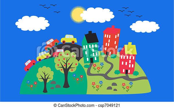 a friendly town on a hill - csp7049121