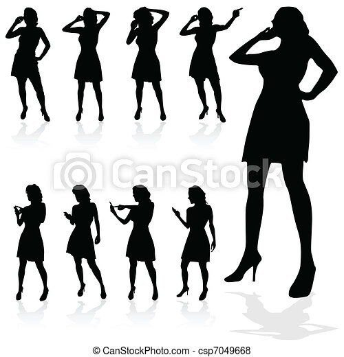 girl talking on a mobile vector - csp7049668