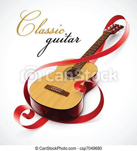 classic guitar as clef simbol - csp7049680