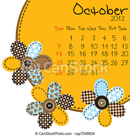 2012 October Calendar - csp7049834