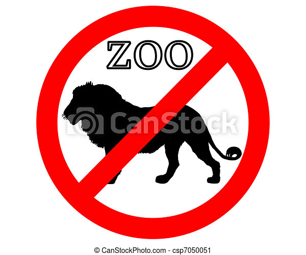 Lion in zoo prohibited - csp7050051