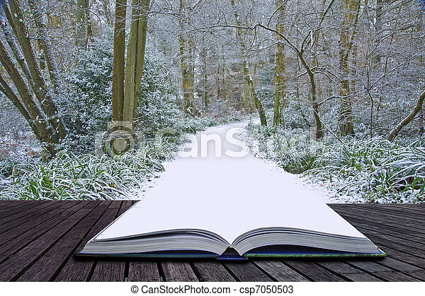 Creative concept idea of Winter landscape coming out of pages in magical book - csp7050503