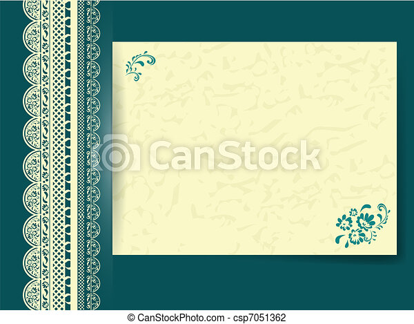 lace frame with floral decorated paper - csp7051362