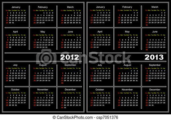 Black calendar template. - csp7051376