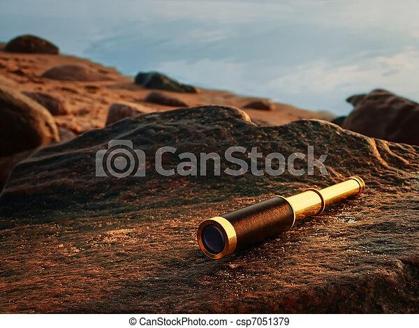 antique brass telescope - csp7051379