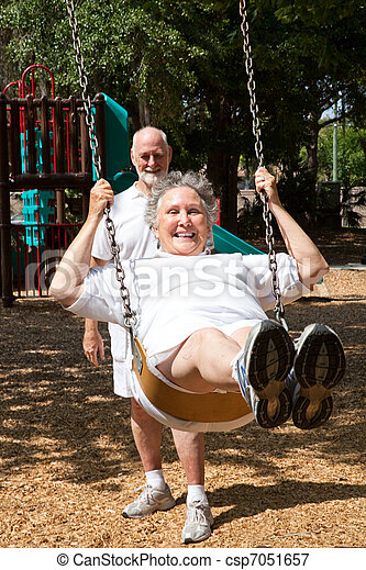 Senior Woman Reliving Childhood - csp7051657