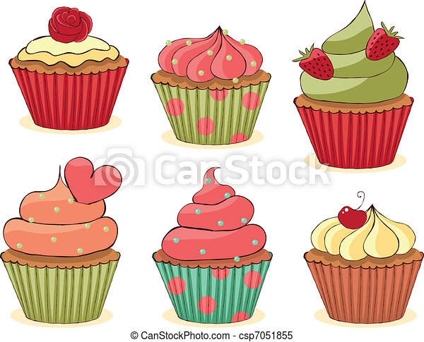 Sketchy Cupcakes Set. - csp7051855