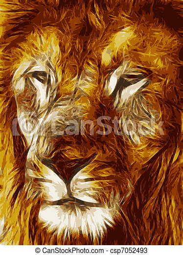 Close-up picture illustration of Large Lion face Vector - csp7052493