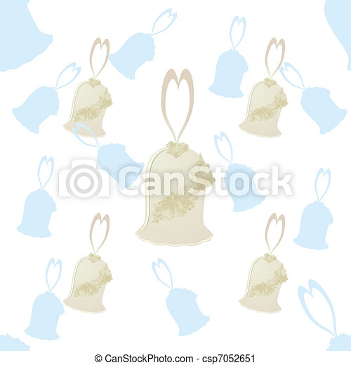 Seamless background with a decorative wedding bells on a white background