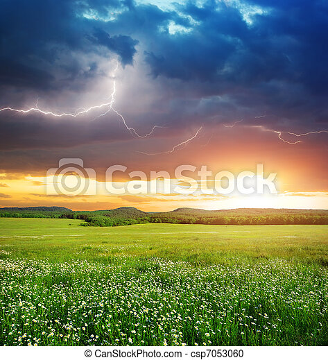 Green meadow in mountain. - csp7053060