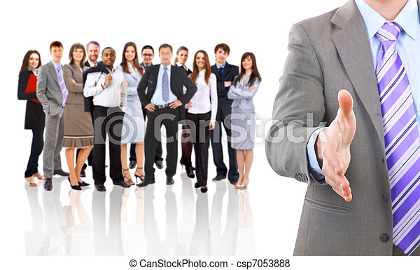 business man with an open hand ready to seal a deal  - csp7053888