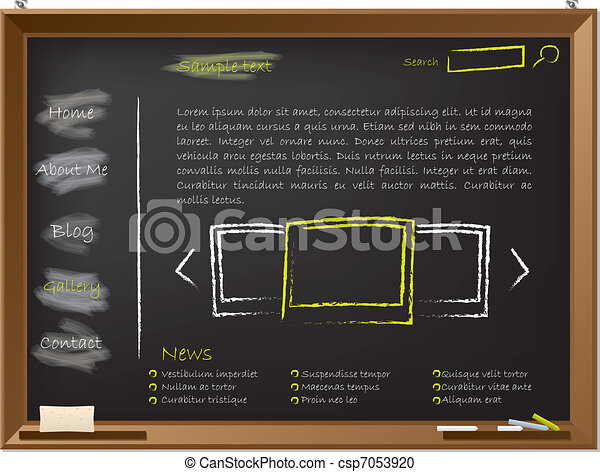 Website template design on blackboard - csp7053920