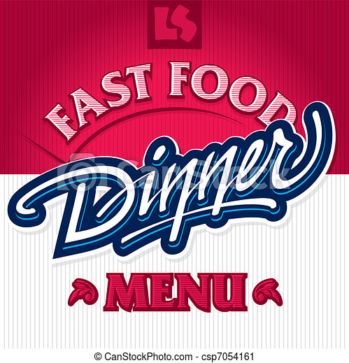dinner hand lettering (vector) - csp7054161