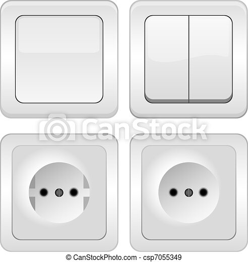 vector Sockets and switches on whit - csp7055349