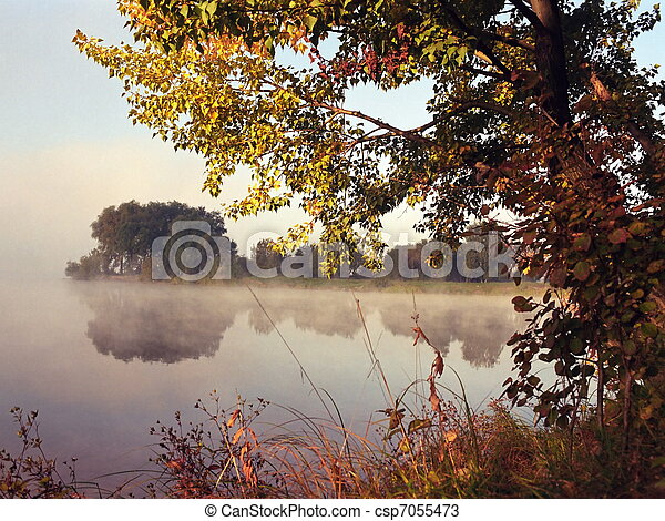 otoño, lago - csp7055473