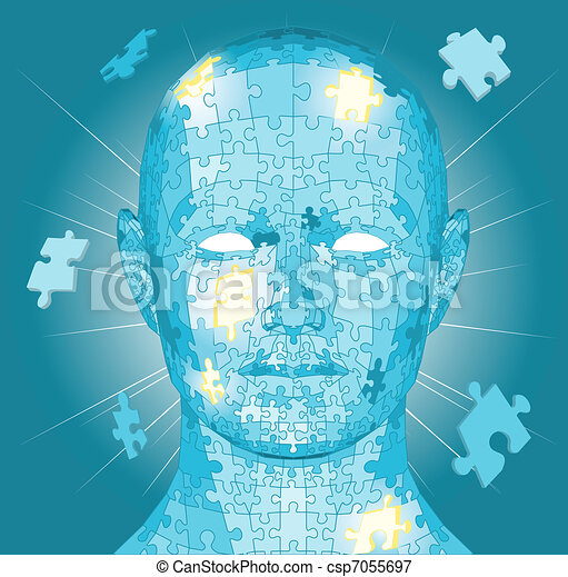 Jigsaw puzzle pieces head - csp7055697