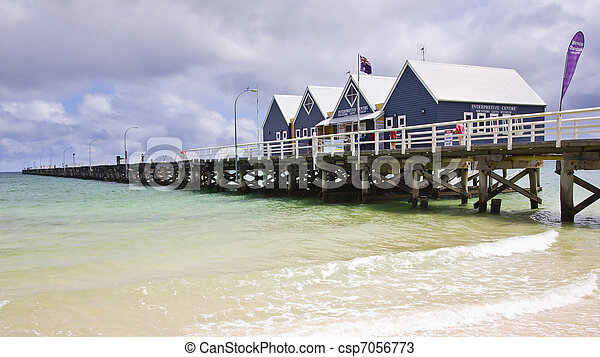 Busselton Jetty from the beach South Western Australia WA - csp7056773