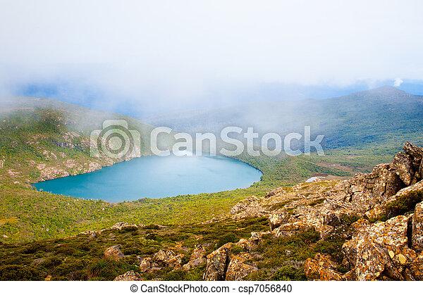 Hartz Lake from Hartz Peak, Tasmania, Australia - csp7056840