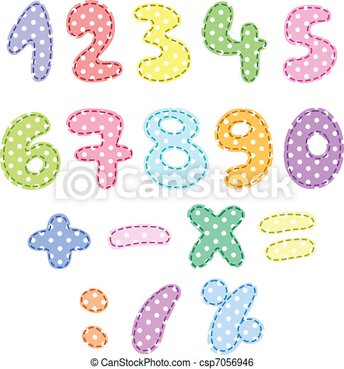 Polka dot numbers with stitches - csp7056946