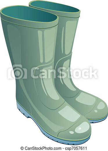Green rubber boots - csp7057611