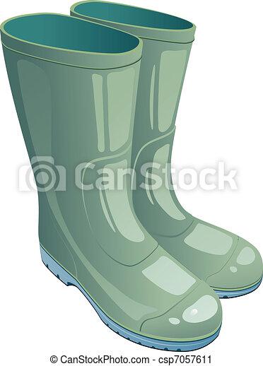 Green rubber boots - csp7057611