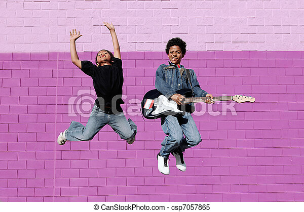 happy african descent kids playing music  - csp7057865