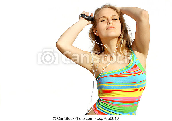 teen listening to music and dancing - csp7058010