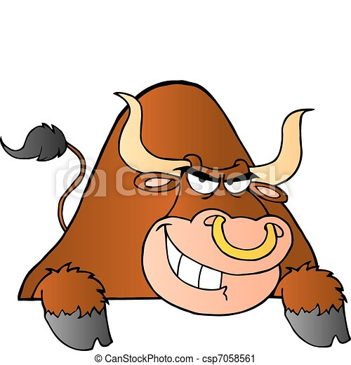 Brown Bull Over A Sign - csp7058561