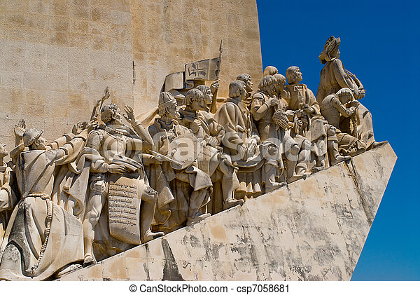 Close-up view of the Discoveries Monument in Lisbon, Portugal.