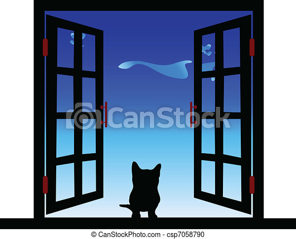 cat in the window illustration - csp7058790