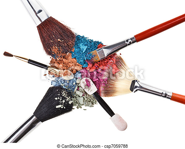 Composition with makeup brushes and broken multicolor eye shadows - csp7059788