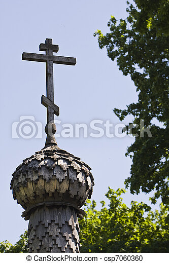 wooden Orthodox cross on wooden cupola - csp7060360