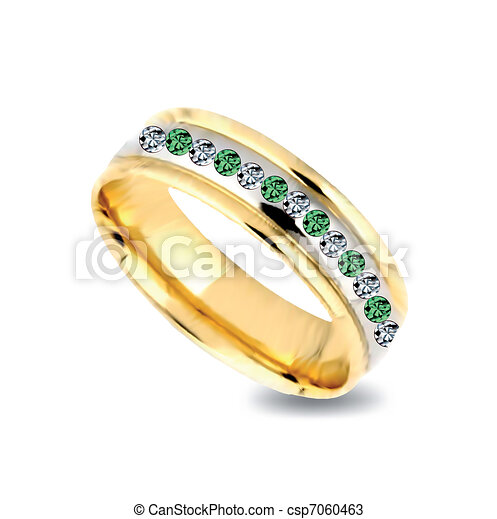 Gold ring with emeralds. Vector - csp7060463