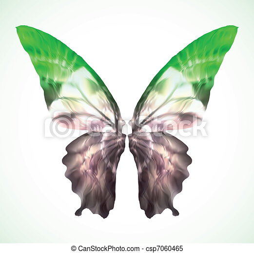 Vibrant green Butterfly Isolated. Vector - csp7060465
