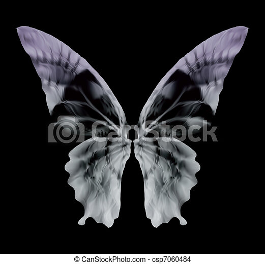 X-ray Butterfly Isolated on black. Vector - csp7060484