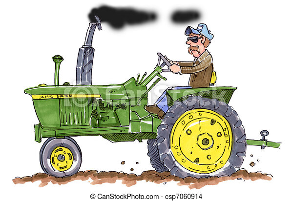 Dessin De John Cerf Tracteur A Paysan Conduite Une