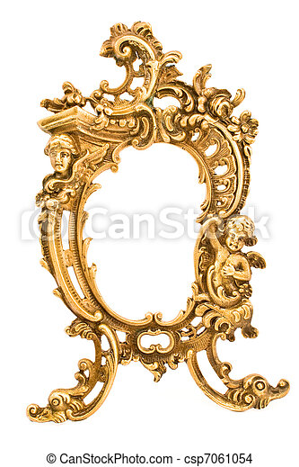 Antique baroque brass frame - csp7061054