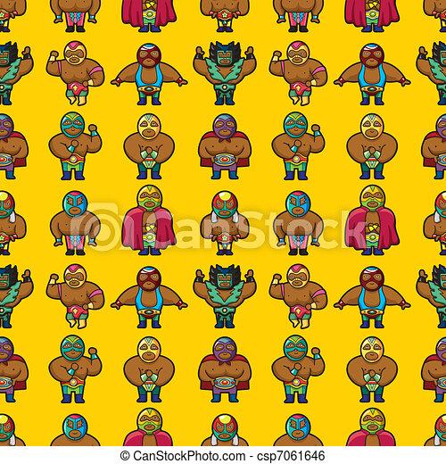seamless wrestler pattern  - csp7061646