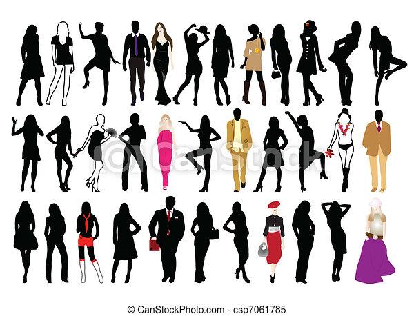 Clipart Vectorial De Moda Gente Siluetas Hombre Mujer Csp7061785 Buscar Clip Art