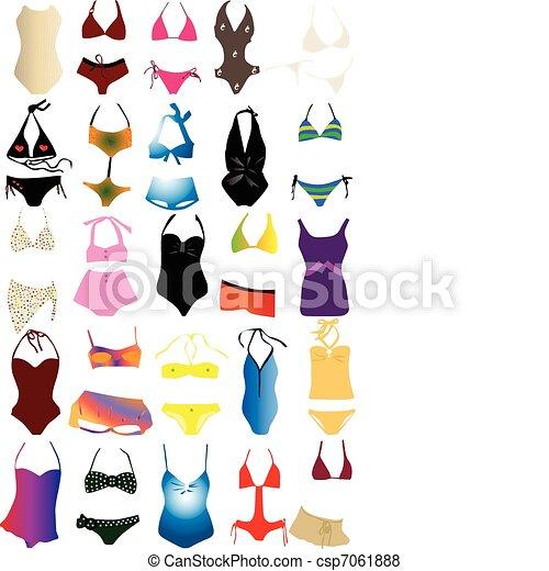 Vecteur de maillot de bain different maillot de bain pour femme csp7061888 recherchez des - Dessin de maillot de bain ...