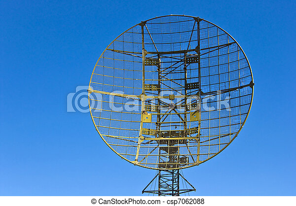 Military radar station against the clear blue sky - csp7062088